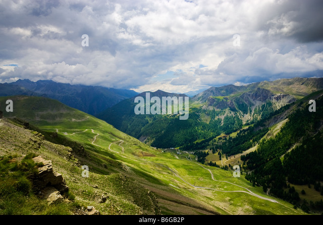 View from the route de la Bonette in the Alpes Maritimes, PACA, France - Stock-Bilder