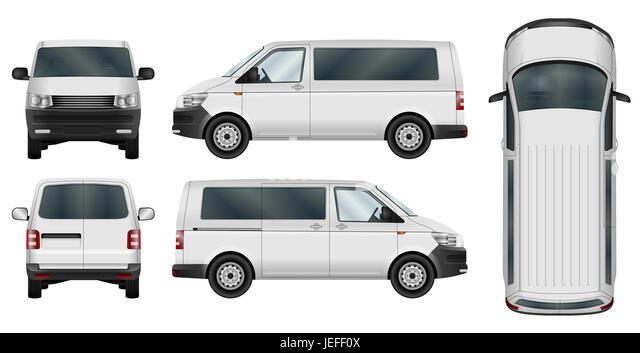 Minivan vector template on white background. Isolated city minibus. - Stock Image