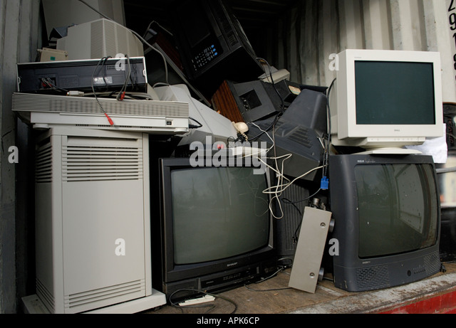 An electronics e waste recycling collection area The collection is part of a municipal recycling center in Ringwood - Stock Image