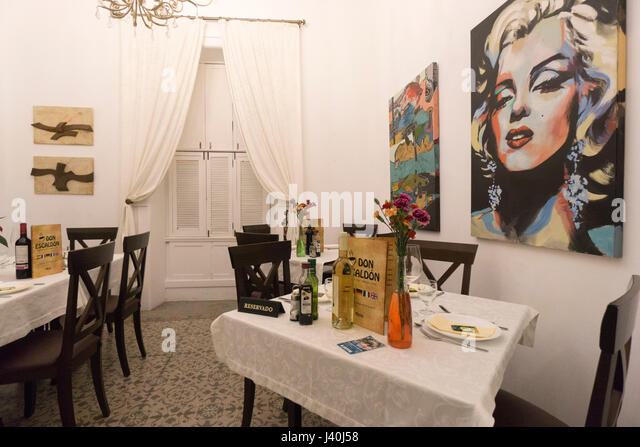 Restaurant,  Don Escaldon, Interieur, Los Llanos, La Palma, Canary Islands , Spain - Stock Image