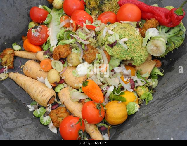Waste food - wasted food - unused foodstuff - Stock Image