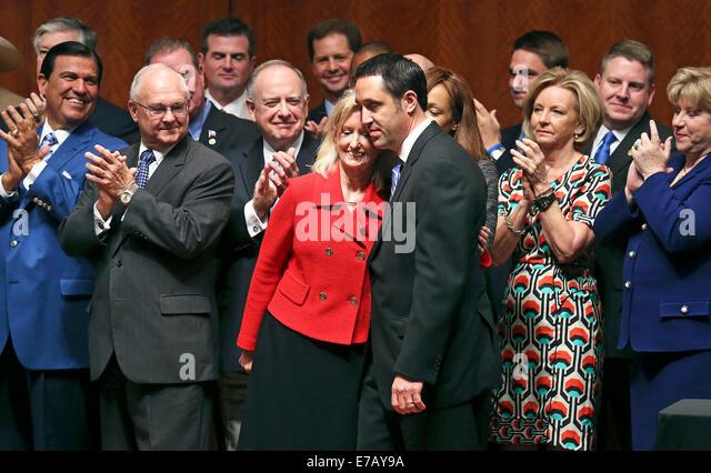 Jul 17, 2013 - AUSTIN, TX, USA - Bill sponsors Jodie Laubenberg and Glenn Hegar hug after being recognized as Governor - Stock Image