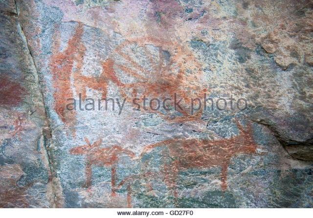 prehistory, petrographs, prehistoric, Rock paintings at Tsodilo Hills Botswana - Stock Image