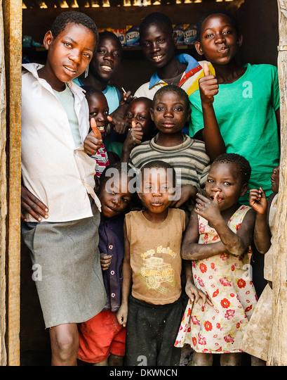 Village kids along the Caprivi Strip, Okavango Delta, Botswana, Africa - Stock-Bilder