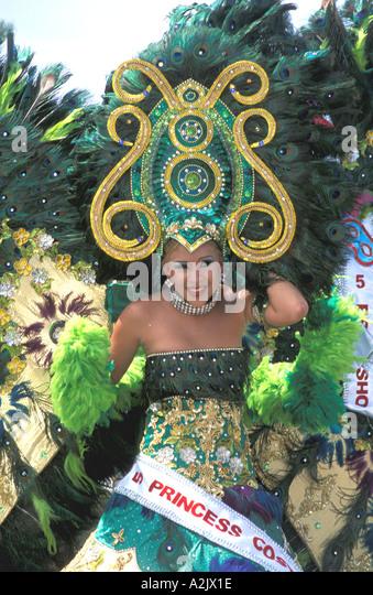 Aruba Childrens Carnival Girl Holding large Headdress - Stock Image