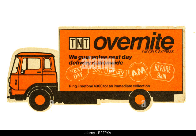 TNT overnite we guarantee next day delivery nationwide - Stock Image