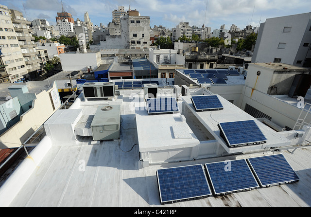 URUGUAY Montevideo , Solar panel on rooftop of Bayer office building - Stock Image