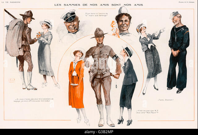 A French journal provides an  illustrated guide to the  American allies, and their  friends.       Date: 1918 - Stock Image