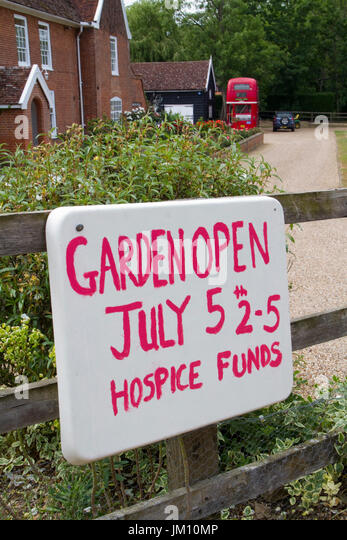 Sign for charity Open Garden in rural Suffolk - Stock Image