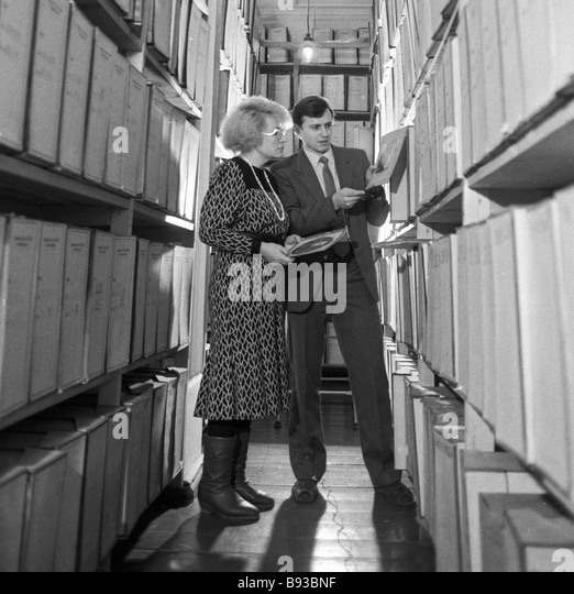 Staff of Tomsk region KGB department work in the archive - Stock Image