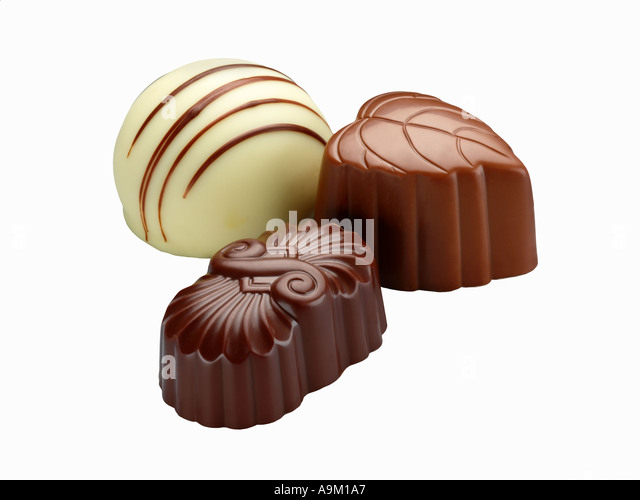belgian chocolates shot for cut out - Stock Image