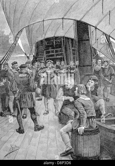 Columbus addresses his crew after hearing that some members, disgruntled at such a long voyage, plot mutiny. - Stock-Bilder