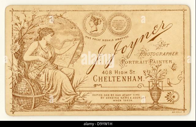 Reverse of  Victorian Cartes de Visite, 1890's, U.K. - Stock Image