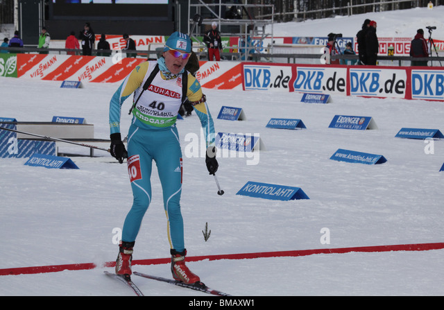 Anna Lebedeva Kazakhstan Kazakstan Women 7.5km Sprint IBU World Cup Biathlon Kontiolahti Finland March 14 2010 - Stock Image