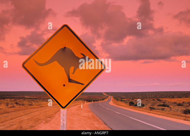 Road Sign, Shark Bay national park, Western Australia, Australia - Stock Image