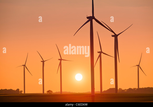 Wind Turbines at Sunset - Stock Image