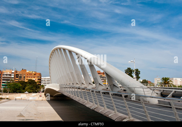 Exposition Bridge by architect Santiago Calatrava, Valencia, Spain - Stock Image