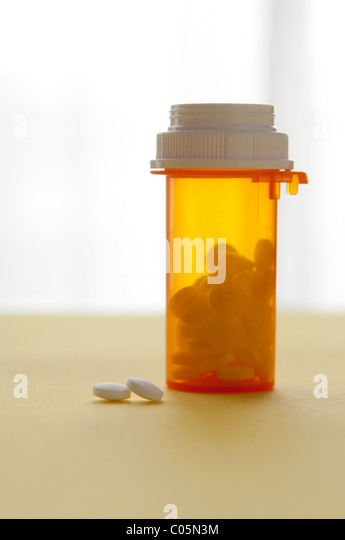 medicine and prescription bottle - Stock Image