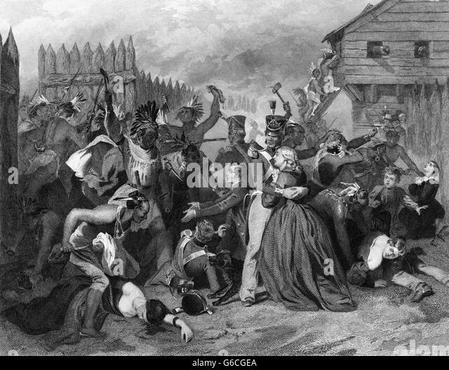 1800s AUGUST 1813 CREEK INDIAN CIVIL WAR THE MASSACRE AT FORT MIMS ALABAMA USA - Stock-Bilder