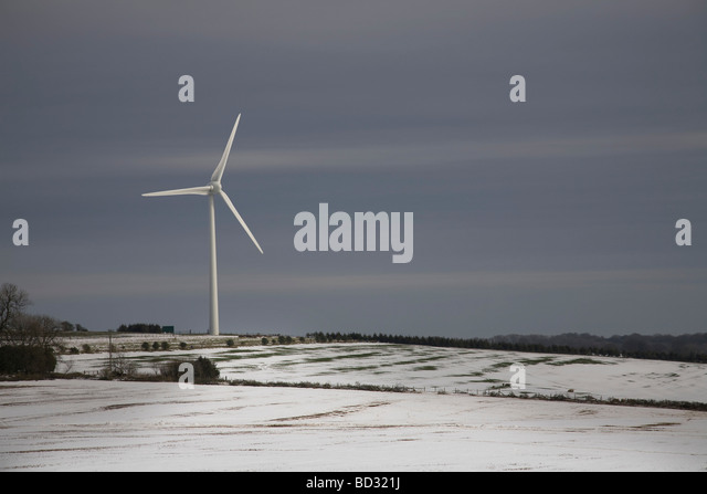 Windmill in the Snow - Stock Image