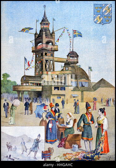 Illustration showing the Swedish Pavilion, at the Exposition Universelle of 1900 - Stock Image