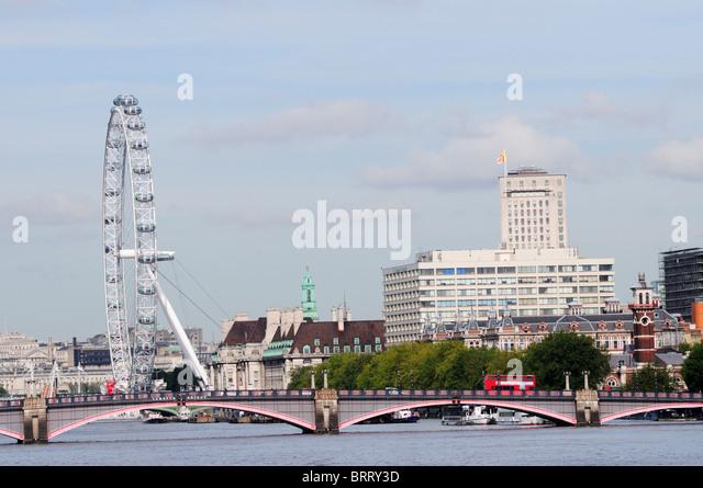 Lambeth Bridge with The London Eye and St Thomas's Hospital viewed from Vauxhall Bridge, London, England, UK - Stock Image
