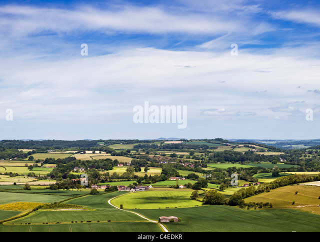 Dorset landscape at Donhead Hollow, Dorset, England UK - Stock Image