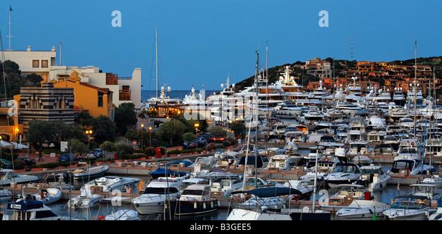 Italy Sardinia Costa Smeralda Porto Cervo Yachting Port Marina - Stock Image