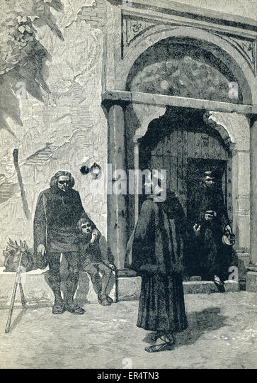 This illustrations, which dates to 1898, shows the Italian navigator and explorer Christopher Columbus at the Convent - Stock-Bilder