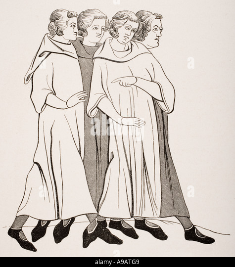 Group of 13th century bourgeois from miniature in 13th century manuscript - Stock Image
