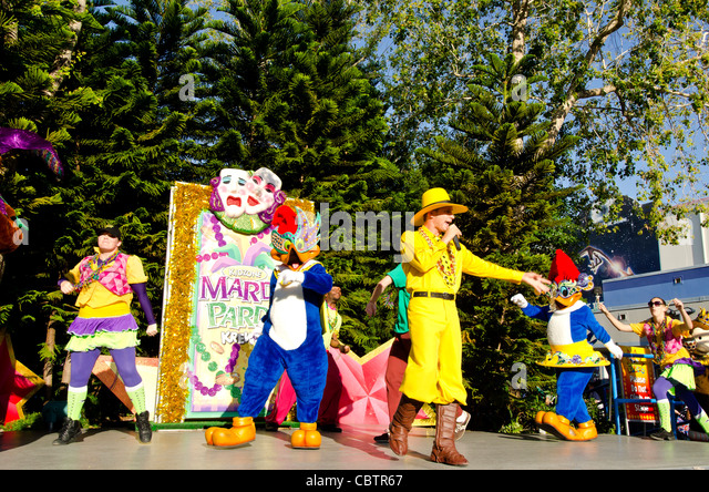 Mardi Gras Party stage performance with Woody Woodpecker at Universal Studios Orlando Florida - Stock Image