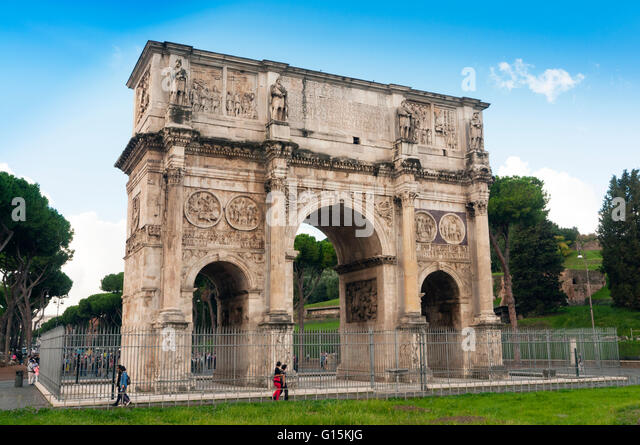 Arch of Constantine, Arco di Costantino, Rome, Unesco World Heritage Site, Latium, Italy, Europe - Stock Image
