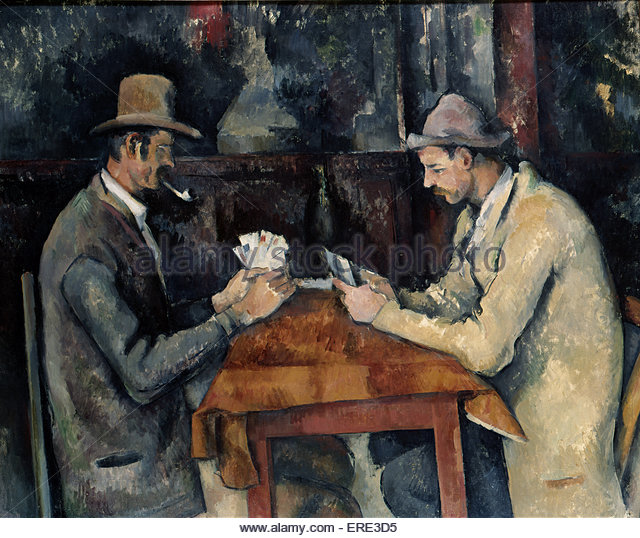 The Card Players by Paul Cezanne, 1893-6. PC, French artist: 19 January 1839 – 22 October 1906. Courtesy The Courtauld - Stock Image
