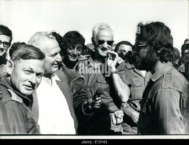 Mar. 27, 2012 - for left Gen .Brenn. Pres. Katzir - Uri Ben-Ari with at the front and yom Kippur War - Stock Image