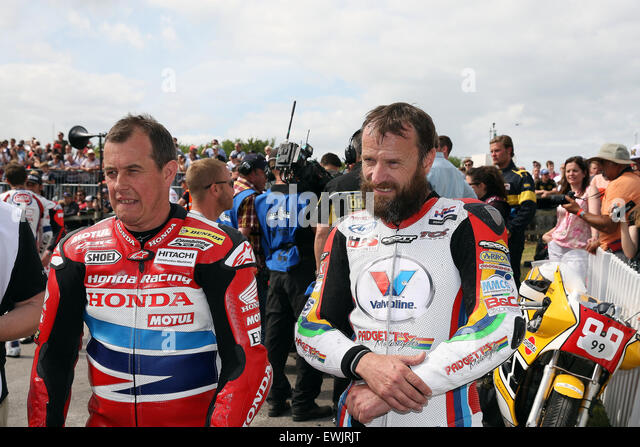 Goodwood West Sussex, UK . 27th June, 2015. John McGuinness and Bruce Ansty, Isle of Man TT riders, Goodwood, UK, - Stock Image