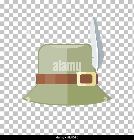 Hunter Hat Isolated on Checkered Background. Summer hat isolated on checkered background. Green panama with brown - Stock-Bilder