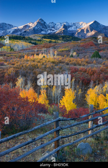 Autumn colors and the Sneffels Range, San Juan Mountains, Dallas Divide, Colorado. - Stock Image