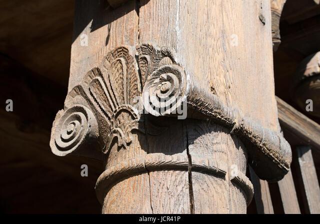 Detail. Arcade house (Vorlaubenhouse) in Marynowy (Marienau), Pomerania, Poland. A rare architecture art, with many - Stock Image