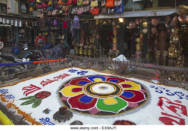 Nepal, Kathmandu, View of Tihar festival. - Stock-Bilder