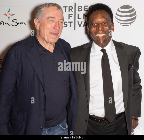 New York City, USA. 23rd April, 2016. Former Brazilian Footballer Edson Arantes do Nascimento aka Pele and Robert - Stock Image