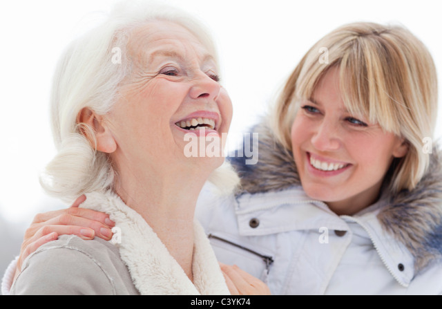 A portrait of two ladies in the snow - Stock Image