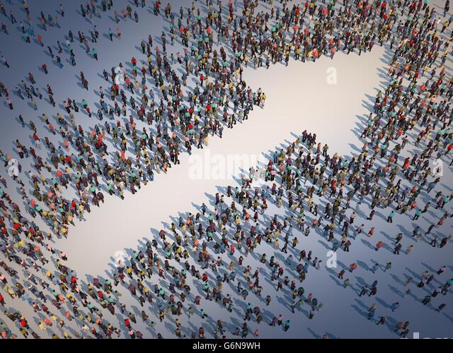 Large group of people forming a arrow symbol - 3D illustration - Stock-Bilder
