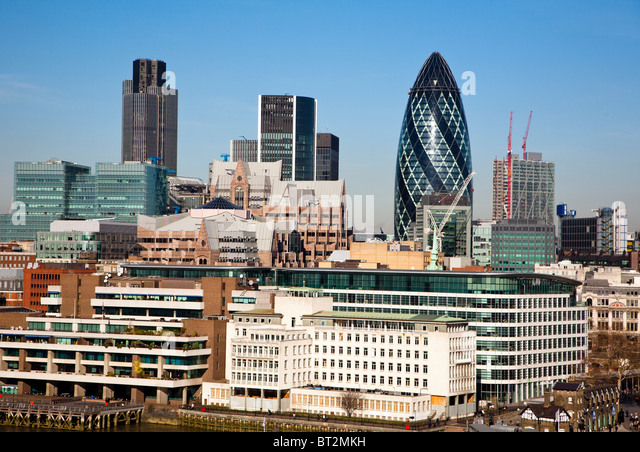City of London skyline with many commercial office blocks including Tower 42 and the Gherkin and other skyscrapers - Stock Image