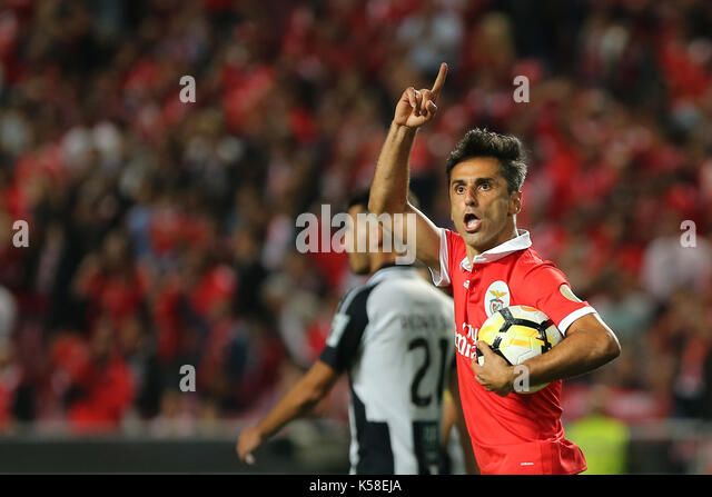 Benfica«s forward Jonas from Brazil celebrating after scoring a goal during the Premier League 2017/18 match - Stock Image