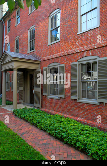 Maine Portland Congress Street Maine Historical Society: Henry Wadsworth–Longfellow House poet historical building - Stock Image