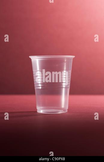 Empty plastic cup, still life - Stock Image