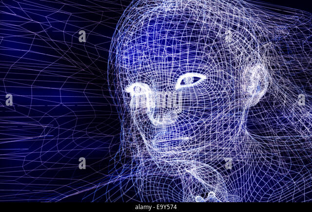 Woman digital wireframe face conceptual 3D illustration on dark blue background - Stock Image