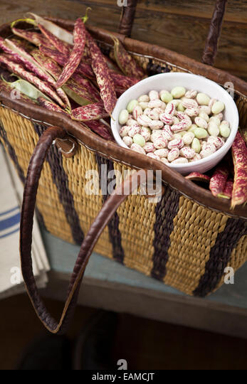 Borlotti Beans in Basket - Stock Image