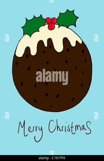 Christmas pudding, illustration - Stock-Bilder
