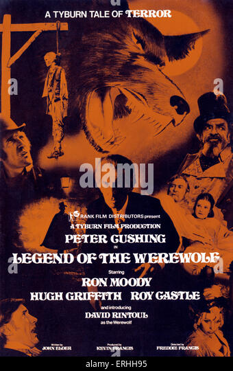 Legend of the Werewolf - film starring Peter Cushing and Ron Moody.  Film poster. 1975. A Tyburn film production. - Stock-Bilder